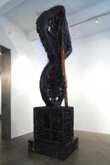 Elliptic Umbilic/Fait Accompli, 2007. PVC pipe, plastic urethane, wood, aluminum, spray paint, 185 x 41 x 50 inches (469.9 x 104.1 x 127 cm).