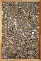 Memory Ware Flat #21, 2001. Paper pulp, tile grout, acrylic, miscellaneous beads, buttons, jewelry on wooden panel, 70 1/4 x 46 1/2 x 4 inches. MP 01-03