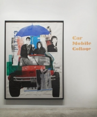 Paulina Olowska, Car Mobile Collage, 2009. Silkscreen on paper and fabric, glue, colored gels, tape, foil, oil marker and crayon, image: 99 x 73.5 inches (251.5 x 186.7 cm); framed: 103 1/4 x 77 7/8 inches (262.3 x 197.8 cm). MP D-43