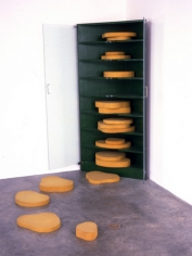 Martin Kippenberger, Japanese Garden Design for Interior, 1989. Wood, paint, foam rubber, glass, 65 x 66 x 35 inches plus foam shapes (sizes variable). MP 55