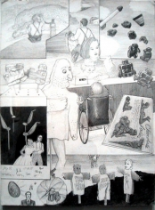 Untitled (In a Small Town egg like aliens took over people) (Dream Drawing, Chocolate ladies, scarecrow, wheelchair), 1998. Pencil on paper, 12 x 9 inches. MP d-183
