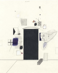To the Door, 2003. Graphite, ball point pen, ink and correction fluid on paper, 10 1/2 x 8 inches. MP D-86