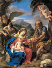 Giovanni Francesco Barbieri, called Il Guercino The Rest on the Flight to Egypt Private Collection