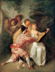 Jean-Antoine Watteau Le Conteur Private Collection Nicholas Hall Art Gallery Dealer Old Masters