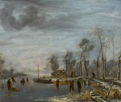 Jan van de Capelle Winter Landscape Private Collection Nicholas Hall Art Gallery Dealer Old Masters