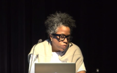 Jennie C. Jones gives an artist talk at the Society for Contemporary Art, Art Institute of Chicago, IL (2015)