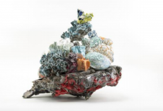 ceramic by Lauren Skelly Bailey titled Coral Stack  2016, Glazed ceramic materials, slip, acrylic, flock  11 x 14 x 10 in