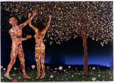 FRED TOMASELLI, Us and Them, 2003, photocollage, leaves, gouache, acrylic, resin on wood, 60 X 80 inches
