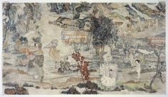 YUN-FEI JI The Scholars Flee In Horror, 2006.  Mineral pigments and ink on mulberry paper, 40 5/8 X 72 1/4 inches.