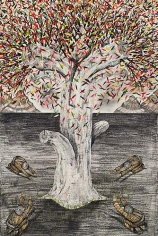 Andrew Schoultz, Four Bowing Men (Tree) (2013)
