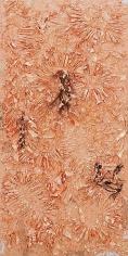"""TAM VAN TRAN, """"Alphabet Shore 4,"""" 2012-13, Copper, palm leaf, cardboard, and ceramic on canvas, 95 x 47 inches, 241.3 x 119.4 cm, A/Y#20900"""