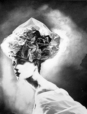 """""""Night Bloom"""", Hat by Christian Lacroix Haute Couture, Olga Pantushenkova, Paris, The New York Times Magazine, March 31,1996, gelatin silver print, 24 x 20 inches"""