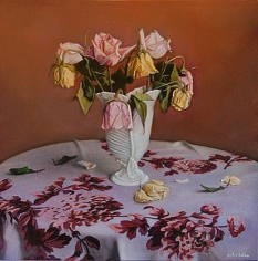 Still Life with Eight Roses, hand-colored gelatin silver print