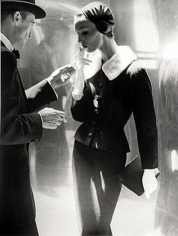 """""""By Night, Shining Wool and Towering Heel"""", Suit by Handmacher, Evelyn Tripp, New York, Harper's Bazaar, September 1954, gelatin silver print, 20 x 16 inches"""