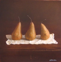 Still Life with Three Pears on a Doily, hand-colored gelatin silver print, 9 x 9 inches