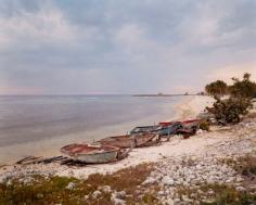 Fishing Boats and Military Watchtower, Playa Giron, Cuba, 2004, chromogenic print
