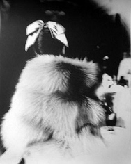 """""""The Little Furs"""", Cape Jacket by Ritter Brothers, Mary Jane Russell, The Essex House, New York, Harper's Bazaar, July 1955, gelatin silver print, 20 x 16 inches"""