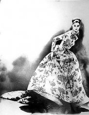 """""""Night Bloom"""", Ball Gown by Christian Dior Haute Couture, Anneliese Seubert, Paris, The New York Times Magazine, March 31, 1996, gelatin silver print, 14 x 11 inches"""