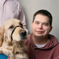 Young Man with His Service Dog and Father, 2008