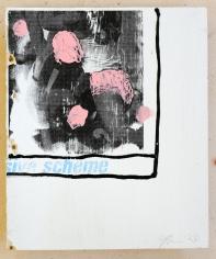 Jacob Boylan  Pink Jocks, 2020  Silk Screen, Acrylic and Silicon on Ply Wood  35h x 30w cm