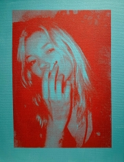 Michael Stiegler  Kate Moss Blue, 2019 art from the exhibition on Bowery at Lone Goat Gallery