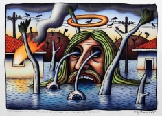 Reg Mombassa  Fire and water: Australian Jesus with hollow head and eyes popped out, 2018