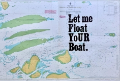Hannah Cutts  Let Me Float Your Boat, 2020  Letterpress on vintage maritime map