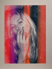 Michael Stiegler  Kate Moss Rainbow, 2019 art from the exhibition on Bowery at Lone Goat Gallery