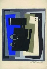 Hugo de Marziani, Untitled, 1958. Tempera on paper, 8.1 in. x 6.7 in.