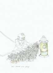 Teresa Currea, Tenía atorada una peluza, 2009, Pencil and ink on paper, 17.5 x 12.5 cm