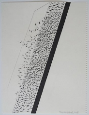 """Miguel Angel Ríos, Drawing from the series """"Endless"""" Nº 35, 2015. Ink and pencil on paper, 14 1/8 x 11 in.  / 35.8 x 28 cm"""