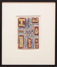 Francisco Matto, Constructivo cno elementos amarillos, 1956. Ink and watercolor on paper, 4 x 6 in. / 10.8 x 15.7 cm.