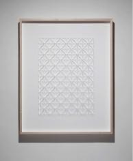 Gabriel de la Mora, CI / 444 III, 2017. Microscope coverslips on cardboard, 41 18 x 3 in. / 104.3 x 83.9 x 7.7 cm.