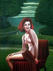 Drossos Skyllas Seated Nude in Garden, c. 1960