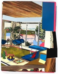 MICKALENE THOMAS Interior: Blue Couch with Green Owl, 2011