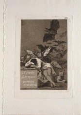 FRANCISCO DEGOYAYLUCIENTES, The Sleep of Reason Brings Forth Monsters, from the series Los Caprichos (plate 43 from Los Caprichos), 1797-98