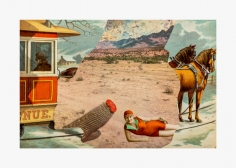 Collage by Joanna Beall Westermann titled Erotic Landscape and Trolley from 1976