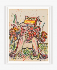 Work on paper by Maryan titled Figure on Grassy Background from 1966