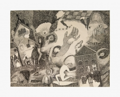 Work on paper by Joanna Beall Westermann titled Chicago, from 1960