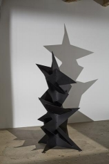 In the darkened gallery, even stationary works like 'Monsieur Loyal (Ringmaster)', 1967, pictured here, and 'Red Curlicue', 1973 have a larger-than-life presence. Both are maquettes, which reveal a little about how Calder sought to resolve scale issues when he designed his monumental stabiles