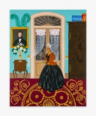 Painting by Andrew LaMar Hopkins titled Marie Laveau in her Saint Ann St Creole Cottage