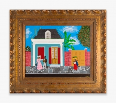 Painting by Andrew LaMar Hopkins titled A Beautiful Day in Faubourg Tremé