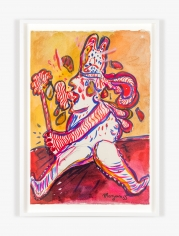 Work on paper by Maryan titled Personnage with Hat Holding Wand from 1965