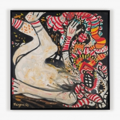 Painting by Maryan titled Personnage with Feet in Air from 1964