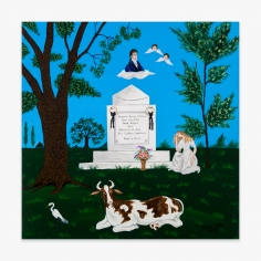 Painting by Andrew LaMar Hopkins titled The Tomb of America's first Architect Benjamin Henry Latrobe in Creole New Orleans