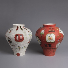 Beth Lo Red and White Vases