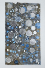 Mosaic Drawing Circle Vision (Black, Blue, Silver and Gold), 2010, Spray paint, acrylic, silver leaf and gold leaf