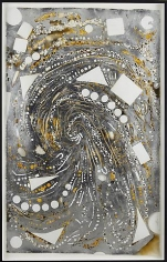 Mosaic Drawing (Black, Yellow, Silver, Paper and Holes), 2009, Spray paint, acrylic, silver leaf