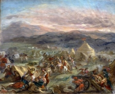 EUGÉNE DELACROIX, (French, 1898-1863), Botzaris Surprises the Turkish Camp at First Light and Falls Fatally Wounded, circa 1862