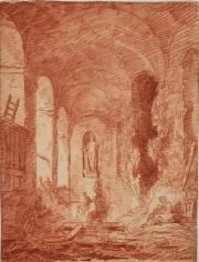 HUBERT ROBERT (Paris 1733-1808 Paris), Lavandières à la nymphée de la Villa Aldobrandini à Frascati, 1761